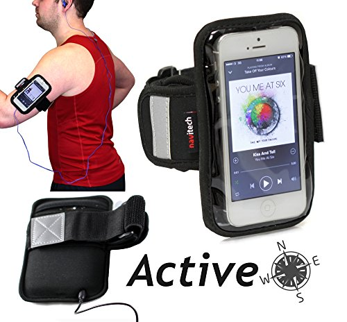 Navitech schwarzes Neoprene Wasser wiederständiges Sport / Jogging / lauf Armband Case für das HTC One V/ HTC One S/ HTC Desire X/ HTC Desire C/ HTC Explorer / HTC Windows Phone 8S/ HTC Windows Phone 8X / Samsung Ativ S)