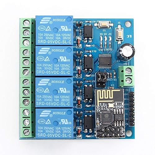 Wifi-Relaismodul, 5 V ESP8266 ESP-01 4-Kanal-Fernbedienungsschalter für Smart Home IOT-Übertragungstelefon APP-Controller