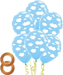 12 Inch Cloud Print Light Blue Latex Balloons 50 Count for Children Boys Girls Birthday Party Baby Shower Decoration
