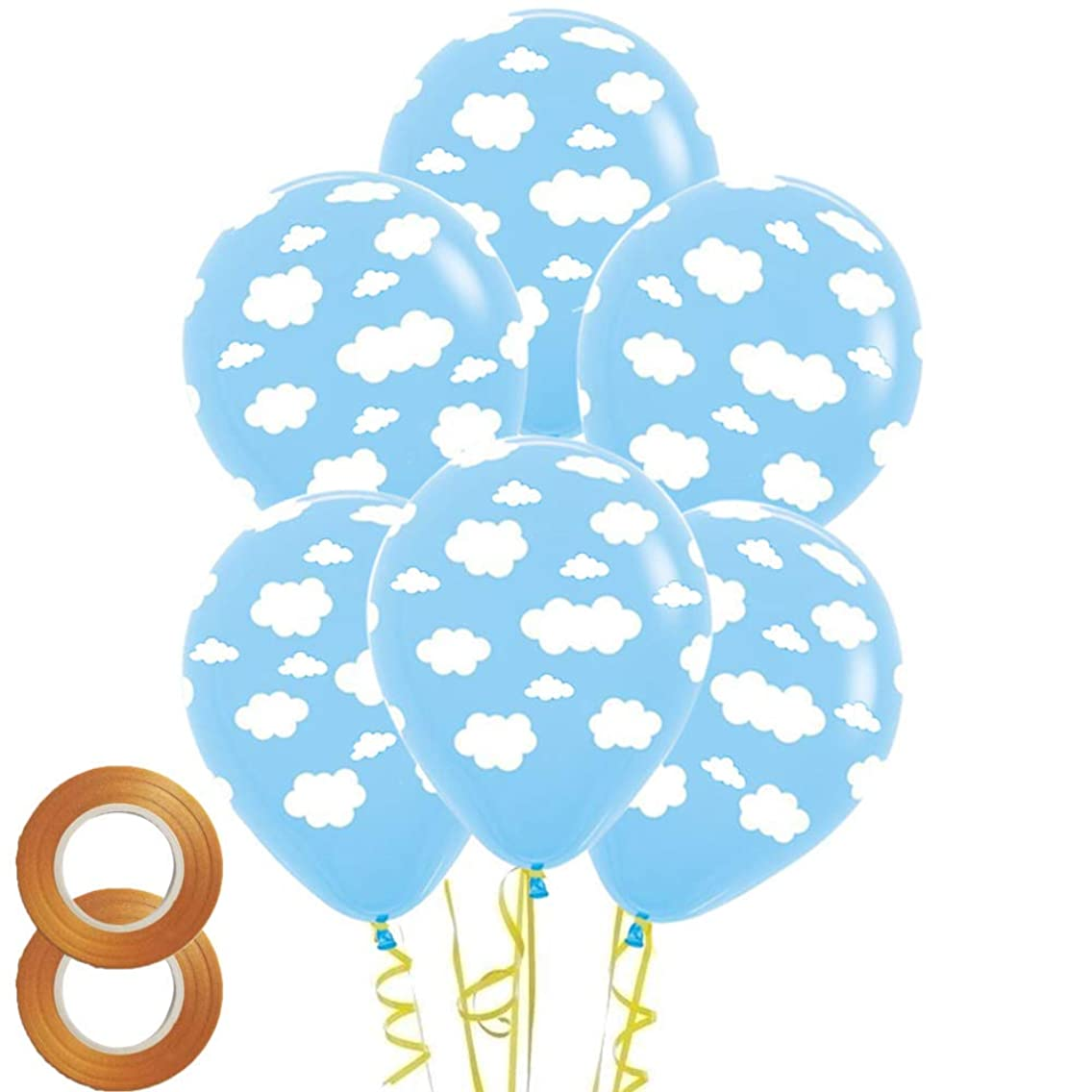 12 Inch Cloud Print Light Blue Latex Balloons,50 Count For Children Boys Girls Birthday Party Baby Shower Decoration