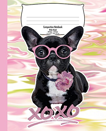 French Bulldog Composition Notebook for Kids: Hugs and Kisses, Colorful Marble | Wide Ruled | 120 Pages | 7.5 x 9.25