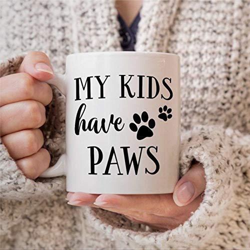 """Kaffeetasse, """"My Kids Have Paws""""-Tasse, Katzenmutter, Hunde-Moma, Tasse für Haustier-Moma, lustige Keramik-Kaffee-Teetasse, Geschenk für Freunde, Familie, Liebhaber, Kollegen, 450 ml"""