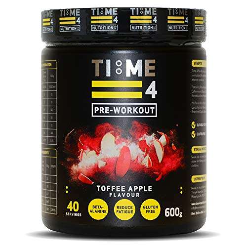 Time 4 Pre-Workout - Ultra High Strength Pre Workout Powder - Plant Based Vegan Pre Workout Supplement for Men & Women – Best Pre Workout Vegan Blend (Toffee Apple, 600g Tub)