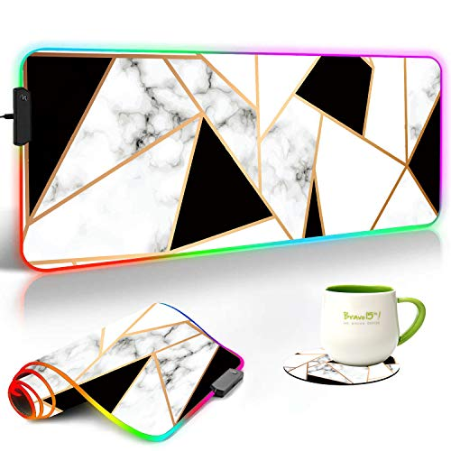 RGB Gaming Mouse Pad and Coasters Set,Marble Texture Extended Soft Led Mouse Pad with 10 Lighting Modes, Anti-Slip Rubber Base,Computer Keyboard Mouse Mat 800 x 300mm / 31.5×11.8 inches