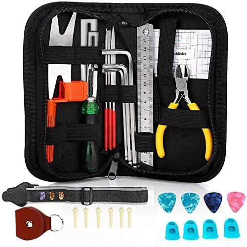 JYMEI Kit de Herramientas de Reparación y Mantenimiento de Limpieza de Guitarra,Correa de Guitarra,Herramienta de Cambio de Cuerdas,Herramientas de reparación de Llave de afinación(31 Piezas)