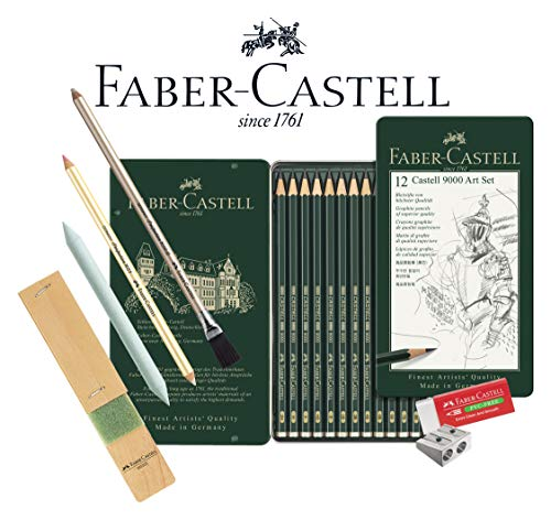 Faber-Castell 119065 - Bleistift Castell 9000, 12er Art Set, Inhalt 8B - 2H (Graphit-Kunst-Set, Grundsortiment 8b - 2h)