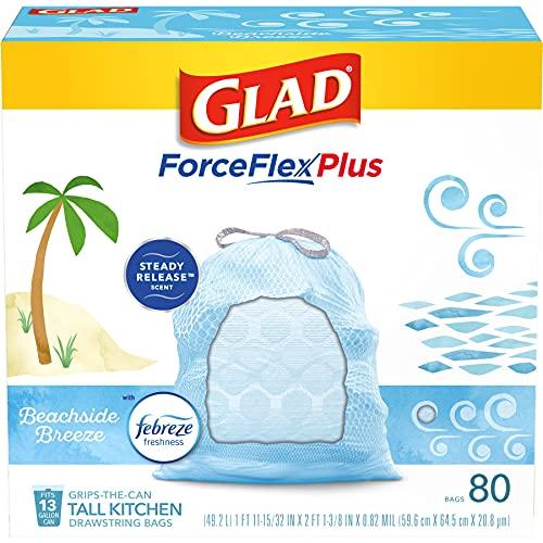 Glad Trash & Food Storage ForceFlexPlus Tall Kitchen Drawstring Trash Bags - 13 Gallon Trash Bag, Febreze Beachside Breeze - 80 Count (Package May Vary) (79206)