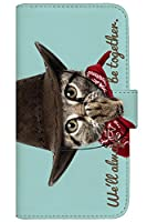with NYAGO 手帳型 ケース レザー 厚手タイプ apple iPhone 8 Plus (iPhone8p) カウボーイ ソラちゃん 肉球をペロペロするにゃー。 かわいい猫フェイス手帳 7039 ミントグリーン