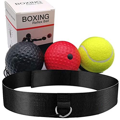 BESLIME Boxen Training Ball Boxing Reflex Ball Boxballl mit Stirnband und Handschuhen für Verbessern Sie Schlaggenauigkeit, Timing, Reflexe und Koordination
