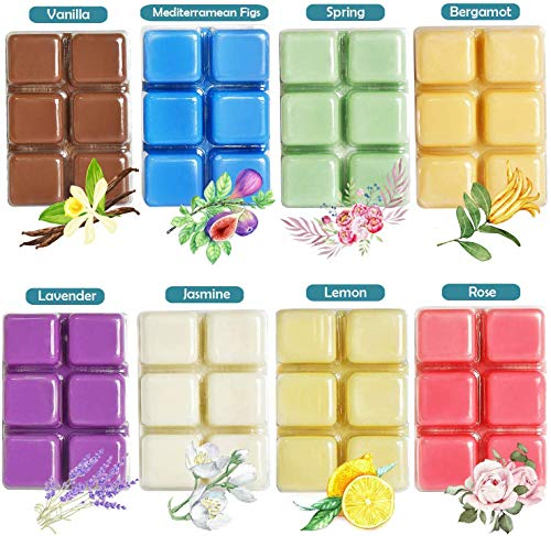 YUCH Wax Melts Air Freshener - Highly Scented Luxury Wax Cubes Gift Set - 8 Fragrances X 6 Cubes - Smells Great - Lemon, Fig, Lavender, Spring...
