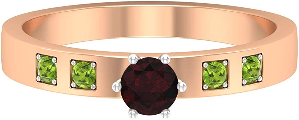 1/4 CT Solitaire Garnet Ring, 1.8 MM Round Peridot Ring, Gold Wedding Band (4 MM Round Shaped Garnet), 14K Gold
