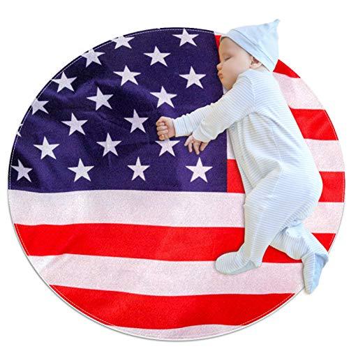 Yumansis Kinder-Spielteppich, rund, waschbar, Motiv: amerikanische Flagge, Weiß