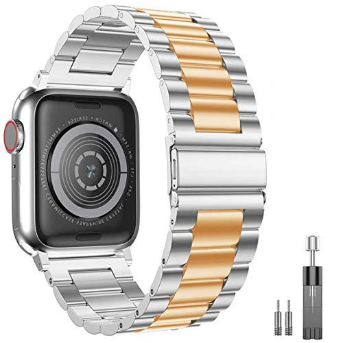Pulsera de acero inoxidable para Apple Watch Band Belt Loop Pulsera Correa para iWatch Series 5 4 3 2 1 Accesorios-Plata oro rosa, 44 mm 42 mm