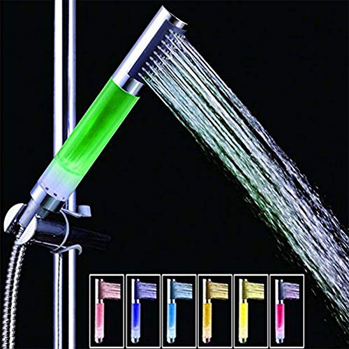 LED Duschkopf Mit Farbwechsel LED Handbrause Runde Stange Für Spa-Duschen 7 Farben-Ändernder Wassersparend Und Hochdruck