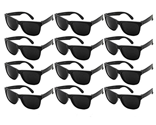 Edge I-Wear 12 Pack Fun Party Sunglass Neon Sunglasses for Kid Party Favors 80's style glasses Wholesale 9402RA/BLK-12