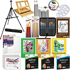 BLACK PISMO Lightweight Aluminum Field Easel with Adjustable Legs & Easy turn adjustable knobs for quick height & angle adjustments & Solana Adjustable Wood Desk Easel with Drawer 24- 12ml Acrylic Paint Tubes, 24-12ml Oil Paint Tubes & 24-12ml Waterc...