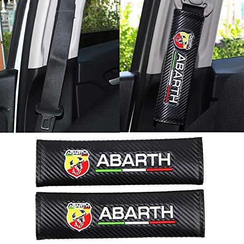 QIEP 2PCS Auto Kohlefaser Sicherheitsgurt Stickmuster umfasst Sicherheitsgurt Fall für FIAT Punto Abarth 500 Stilo Ducato Palio Bravo