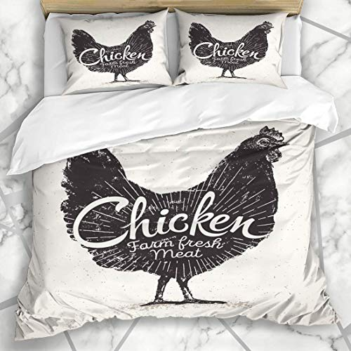 666 UNKEY Duvet Cover Sets Breast Farm Graphical Chicken Inscription Food Drink Graphic Organic Label Design White Microfiber Bedding with 2 Pillow Shams