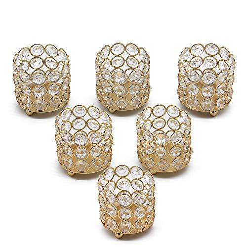 VINCIGANT Kristall Teelichthalter Kerzenhalter Gold 6er Set für Hochzeit Weihnachten Tischdekoration Wohnaccessoires