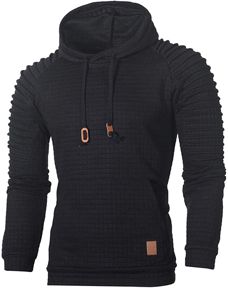 Hoodies for Men Casual Comfy Pullover Plain Sweatshirts Loose Long Sleeve Workout Athletic Sport Sweaters Tops