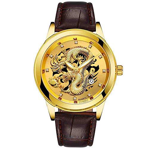 OLUYNG Reloj de Pulsera Relojes Hombre Impermeable Gold Dragon Sculpture Quartz Watch Reloj de Pulsera de Cuero, Dorado