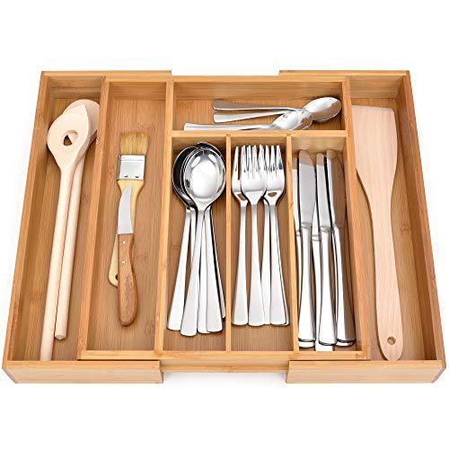 GRÄWE Schubladeneinsatz aus Bambus, Besteckkasten für Küchen-Schubladen, Holzoptik, 5-7 Fächer, variabel ausziehbar - 28,5-40,5 cm