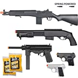 BBTac Airsoft Gun Package - Desert Sniper - Collection of Airsoft Guns - Powerful Spring Sniper Rifle, Shotgun, SMG, Mini Pistols and BB Pellets, Great for Starter Pack Game Play