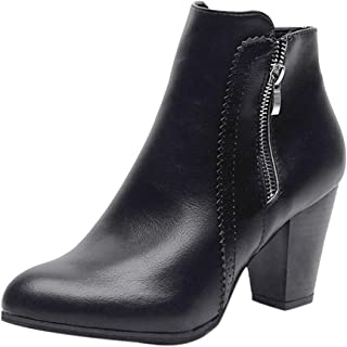 Shoes Clearance Sale !! FarJing Women Vintage Chunky High Heels Thick Heel Short Boot Ankle Booties zipper Shoes