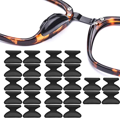 Silicone Eyeglass Nose Pads Adhesive Silicone Anti-Slip Nosepads for Eyeglass Sunglasses 12 Pairs 2.8mm Black
