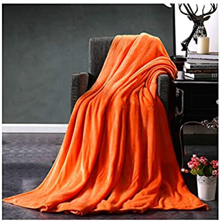 "KFZ Throw Blanket Flannel Fleece Sofa Throw Microfiber Super Soft Blanket Lightweight Cozy Plush Solid Blankets Bed Twin Full Queen Throw Blanket (Orange, 40""x60"")"