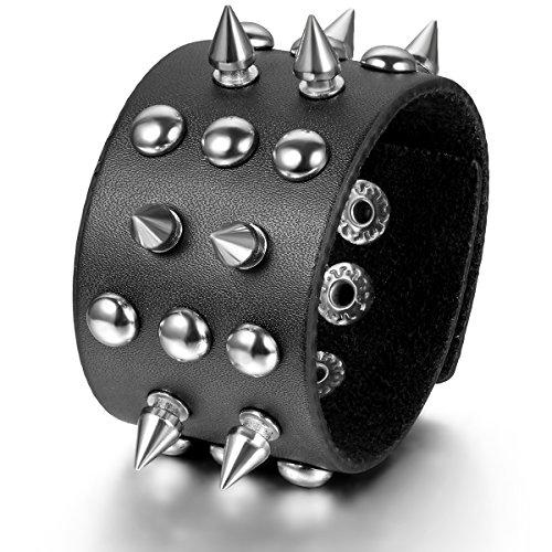 JewelryWe Schmuck Herren Leder Armband, Punk Rock Nieten Spitzen Beads Breit Armreif, Druckknopf, Schwarz