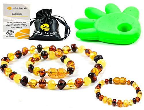 Collier Ambre 33cm.+Bracelet 14cm.- 100% Plus Haute Qualité Certifié l'Ambre la Baltique Authentique Collier Perles de Plus Gros! / Garantie de Remboursement!! (Mmulti)