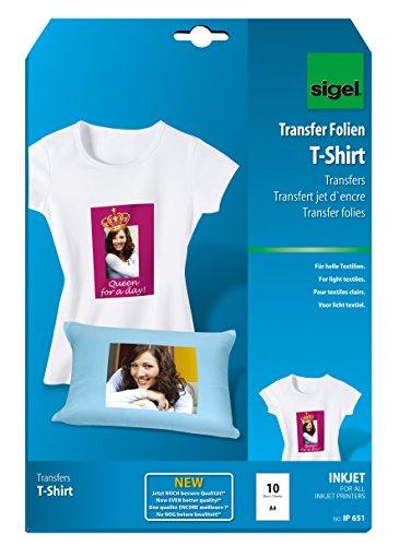 SIGEL IP651 Transferpapier Transferfolie Bügelfolie für helle Textilien und Tintenstrahldrucker, 10 Blatt A4