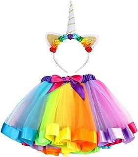 448d043a3456b Vamei Jupe Tutu en ruban arc-en-ciel pour les filles Costumes de ballets
