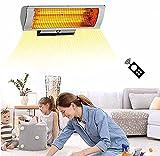 BKWJ Terrassenheizstrahler zur Wandmontage, 2300 W elektrischer Infrarotstrahler mit LED-Beleuchtung, Fernbedienung, hängender Außenheizstrahler für den Gartenhof