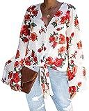 ACHIOOWA Blusa de manga larga para mujer, con hombros descub
