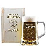 Regalo Personalizado para Padres: Jarra de Cerveza para 'el Mejor Padre del Mundo' grabada con su Nombre y la dedicatoria Que tú Quieras en Caja de Madera también grabada