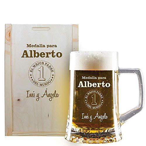 Jarra de Cerveza Personalizables en Caja de Madera