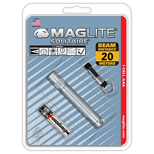 Mag-Lite K3A096 Solitaire - Linterna mini con enganche para llavero (8 cm, incluye 1 pila), color gris 🔥