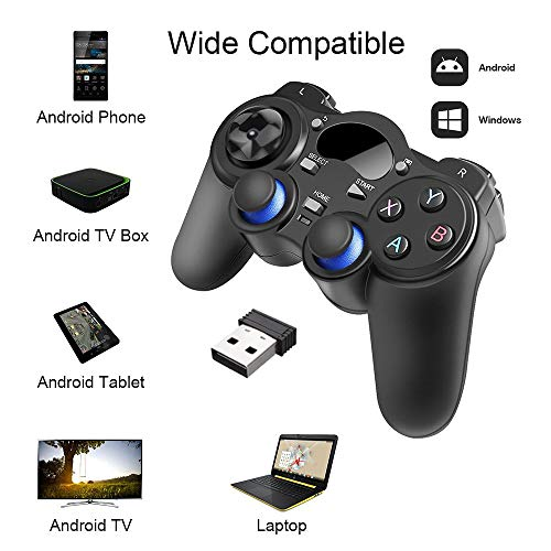 XFUNY Universal 2.4G Wireless Game Controller Gamepad Joystick for Android TV Box Tablets PC Windows 8/7/XP with Stents