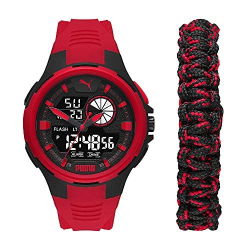 PUMA Herren Bold Analog-Digital Three-Hand, Schwarz Polycarbonate Uhr, P5072