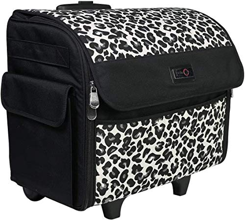 Everything Mary Cheetah Print Rolling Sewing Machine Tote - Sewing Machine Case Fits Most Standard Brother & Singer Sewing Machines, Sewing Bag with Wheels & Handle