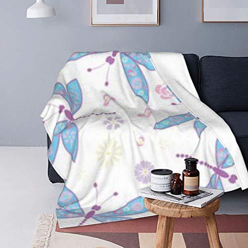 DUTRIX Manta de forro polar ultra suave, diseño de libélulas, 150 x 125 cm