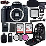 Canon EOS 77D DSLR Camera (Body Only) + LED Light + Microphone + Video Accessory Bundle (Renewed)