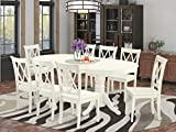 EAST WEST FURNITURE VACL9-LWH-W 9Pc Dinette Set Includes a 59/76.4 Inch Oval Dining Table with Butterfly Leaf and 8 Wood Seat Kitchen Chairs, Linen White Finish