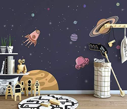Amazon Com Murwall Nursery Wallpaper Cartoon Space Wall Mural For Child Planet Wall Art Boys Bedroom Play Room Kids Wall Decor Handmade