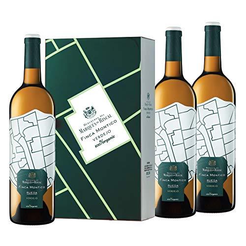 Marqués de Riscal - Vino blanco Finca Montico Denominación de Origen Rueda, Variedad 100% Verdejo, 100% Organic con certificación ecológica - Estuche 3 botellas x 750 ml - Total: 2250 ml
