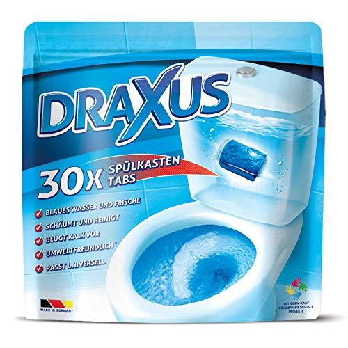DRAXUS Spülkasten Tabs I 30x WC Tabs für den Spülkasten im Vorratspack I Färbt das Wasser blau I Sorgt für extra Frische und hält die Toilette sauber