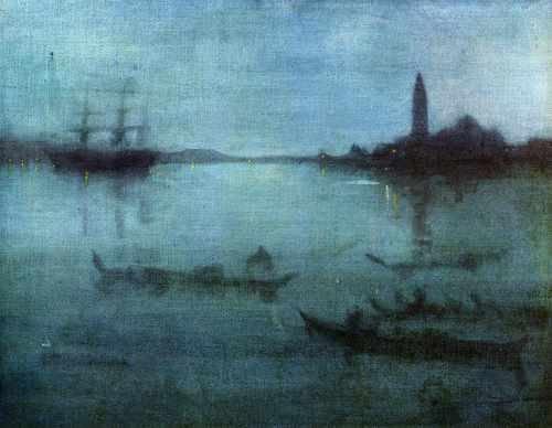 Whistler blu e argento Nocturne in blue and Silver The Lagoon Venice A3tela con stampa