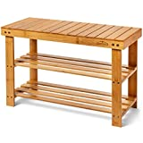 Homemaid Living Bamboo 3 Tier Shoe Rack Bench, Premium Shoe Organizer or Entryway Bench, Perfect for Shoe Cubby, Entry Bench, Bathroom Bench, Entryway Organizer, Hallway or Living Room